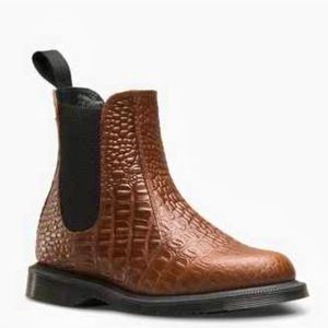 Dr.Martens Brown Leather Croc Pattern Boots AS IS